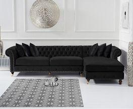 Fiona Black Velvet Right Facing Chesterfield Corner Chaise Sofa