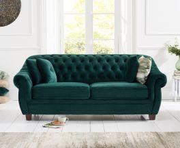 Liv Chesterfield Green Plush Fabric 3 Seater Sofa