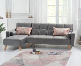 Abigail Grey Velvet Left Hand Facing Chaise Sofa