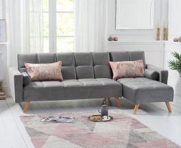 Abigail Grey Velvet Right Hand Facing Chaise Sofa