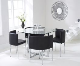 Abingdon Stowaway Dining Set With 4 Black Dining Chairs