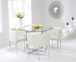 Abingdon Stowaway Dining Set With 4 Cream Dining Chairs