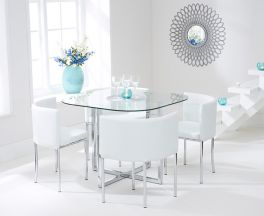 Abingdon Stowaway Dining Set With 4 White Dining Chairs
