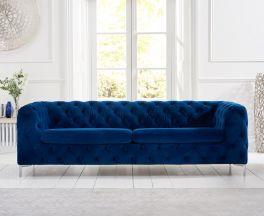 Alegra Blue Plush 3 Seater Sofa