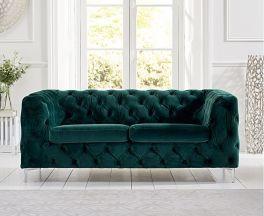 Alegra Green Plush 2 Seater Sofa