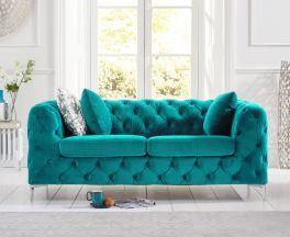 Alegra Teal Plush 2 Seater Sofa