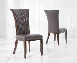 Almeria Brown Leather Dining Chair (Pairs)