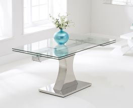 Amber 160cm Glass Extending Dining Table