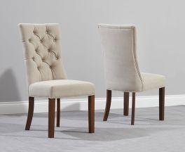 Albury Dark Wood Dining Chair (Pairs) - Beige