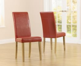 Atlanta Red Faux Leather And Solid Oak Dining Chairs (Pairs)