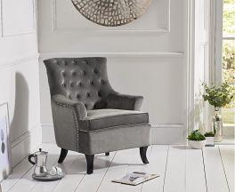 Barney Grey Velvet Accent Chair