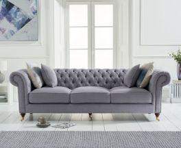 Camara Chesterfield Grey Linen 3 Seater Sofa