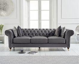 Camara Chesterfield Grey Velvet 3 Seater Sofa