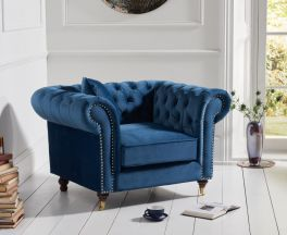 Camara Chesterfield Blue Velvet Armchair