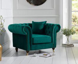 Camara Chesterfield Green Velvet Armchair