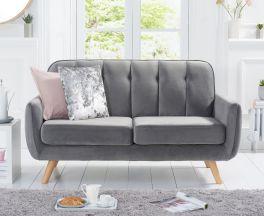 Caren Grey Velvet 2 Seater Sofa