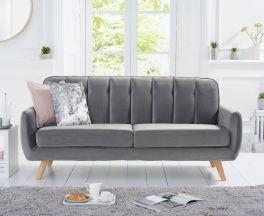 Caren Grey Velvet 3 Seater Sofa