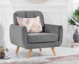 Caren Grey Velvet Armchair