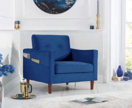 Carrie Blue Velvet Armchair