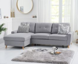 Carlotta Grey Linen Left Hand Facing Chaise Sofa Bed