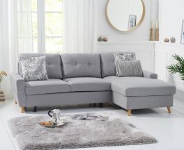 Carlotta Grey Linen Right Hand Facing Chaise Sofa Bed