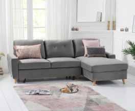 Carlotta Grey Velvet Right Hand Facing Chaise Sofa Bed