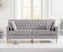 Casa Bella Grey Plush Fabric 3 Seater Sofa