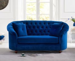 Casey Chesterfield Blue Plush Fabric 2 Seater Sofa