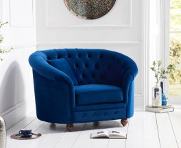 Casey Chesterfield Blue Plush Fabric Chair