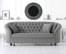 Casey Chesterfield Grey Fabric Three Seater Sofa