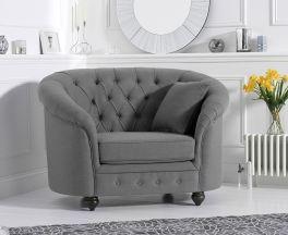 Casey Chesterfield Grey Fabric Armchair