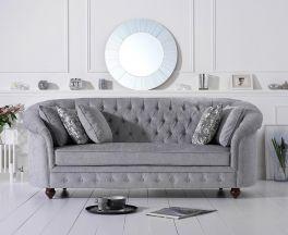 Casey Chesterfield Grey Plush Fabric Three Seater Sofa
