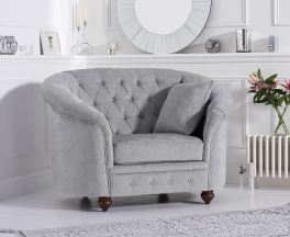 Casey Chesterfield Grey Plush Fabric Armchair