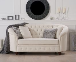 Casey Chesterfield Ivory Fabric Two Seater Sofa