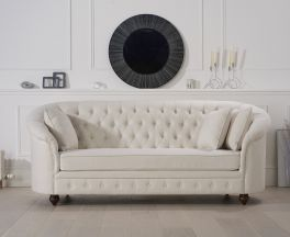 Casey Chesterfield Ivory Fabric Three Seater Sofa
