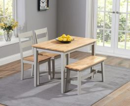 Chichester 115cm Oak & Grey Dining Set With 2 Chairs & Bench