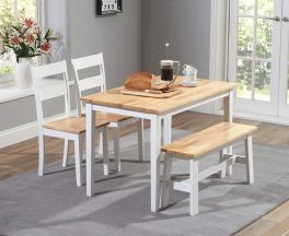 Chichester 115cm Oak & White Dining Set With 2 Chairs & Bench