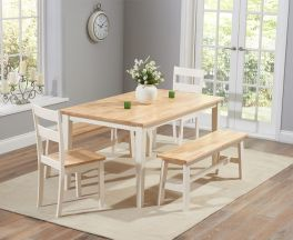 Chichester 150cm Oak & Cream Dt + 4 Chairs + 1 Large Bench
