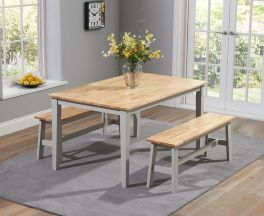 Chichester 150cm Oak & Grey Dining Table With 2 Large Benches