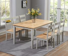 Chichester 150cm Oak & Grey Dining Table With 6 Dining Chairs