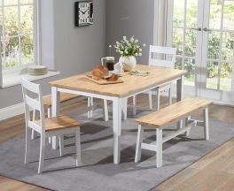 Chichester 150cm Oak & White Dt + 4 Chairs + 1 Large Bench