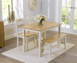 Chichester 115cm Oak And Cream Dining Set With 2 Chairs & Bench