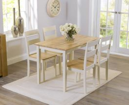 Chichester 115cm Oak And Cream Dining Set With 4 Chairs