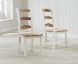 Sandringham Oak and Cream Dining Chairs (Pairs)