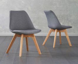 Dannii Dark Grey Fabric Chairs (Pair)