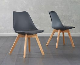 Dannii Dark Grey Faux Leather Chairs (Pair)