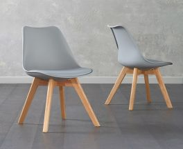 Dannii Light Grey Faux Leather Chairs (Pair)