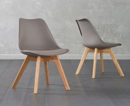 Dannii Taupe Faux Leather Chairs (Pair)