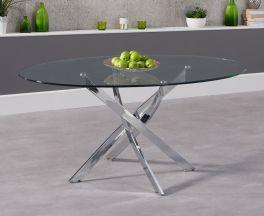 Daytona 165cm Oval Glass Dining Table