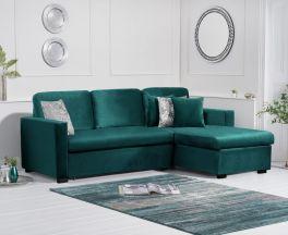 Ellie Green Velvet Reversible Chaise Sofa Bed